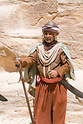 Middle East, Jordan, Petra, UNESCO World Heritage Site. Display Nabataean Lifestyle and customs. Guards in traditional dress and weapons