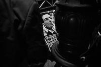 Palermo, Italy, 25 October 2012: Political banners of candidate for Governor of Sicily Rosario Crocetta are here in Piazza Borsa under the stage where the candidate closed his campaign in Palermo, on October 25 2012. <br /> <br /> The direct elections in Sicily for the President of the Region and its representatives will take place on Sunday 28 October 2012, 6 months ahead of the end of the terms of office of the current legislature. The anticipated election of October 28 take place after Raffaele Lombardo, former governor of Sicily since 2008, resigned on July 31st. Raffaele Lombardo is under investigation since 2010 for Mafia ties. His son Toti Lombardo is currently running for a seat in the Sicilian Regional Assembly in the coalition of Gianfranco Micciché, a candidate for the Presidency of the Region. 32 candidates belonging to 8 of the 20 parties running for the Sicilian elections are either under investigation or condemned. ### Palermo, Italia, 25 ottobre 2012: dei manifesti elettorali del candidato alla Presidenza della Regione Sicilia Rosario Crocetta appaiono in Piazza Borsa, sotto il palco dove il candidato ha chiuso la sua campagna elettorale,  a Palermo il 25 ottobre 2012. <br /> Le elezioni in Sicilia per la votazione diretta del presidente della regionee dei deputati all'Assemblea regionale (ARS)si terranno domenica 28 ottobre, in anticipo sulla scadenza naturale dell'attuale legislatura, prevista ad aprile dell'anno prossimo. In Sicilia si vota in anticipo dopo le dimissionidel 31 luglio scorso di Raffaele Lombardo, eletto presidente della regione nell'aprile del 2008 e indagato dal 2010 per concorso esterno in associazione mafiosa. 32 candidati appartenenti a 8 delle 20 liste candidate alle elezioni siciliani sono indagati o condannati.