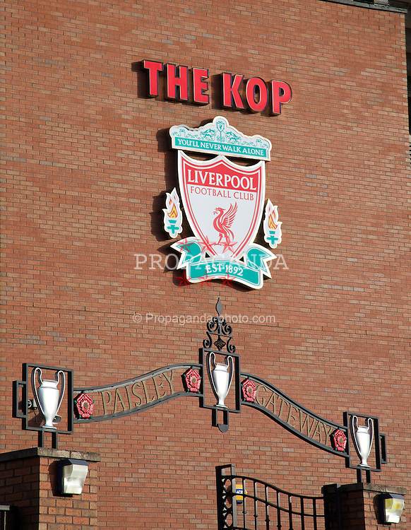 LIVERPOOL, ENGLAND - Saturday, December 21, 2013: The Bob Paisley Gates outside the Spion Kop before the Premiership match against Cardiff City at Anfield. (Pic by David Rawcliffe/Propaganda)