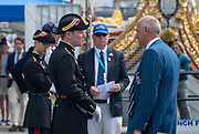 Henley on Thames, England, United Kingdom, Friday, 05.07.19, member of the Forces Armées Françaises, France crew, (left) wearing traditional uniform, meeting Sir Steven REDGRAVE, (right) Chairman of Henley Royal Regatta, HRR, Henley Royal Regatta,  Henley Reach, [©Karon PHILLIPS/Intersport Images]<br /> <br /> 15:48:39 1919 - 2019, Royal Henley Peace Regatta Centenary,
