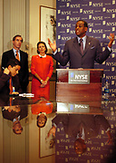 New York, NY, USA, Sep. 18th 2003: H. Carl Mc Call adressing the media at a NYSE Press Conference the day after Mr. Richard Grasso decided to step down as a Chairman for the NYSE New York Stock Exchange.<br /> <br /> H. Carl Mc Call is to substitute for Mr. Grasso temporarily. <br /> <br /> In the background Co- Chief Operating Officers Robert G. Britz and Catherine R. Kinney.<br /> <br />   *** Local Caption ***
