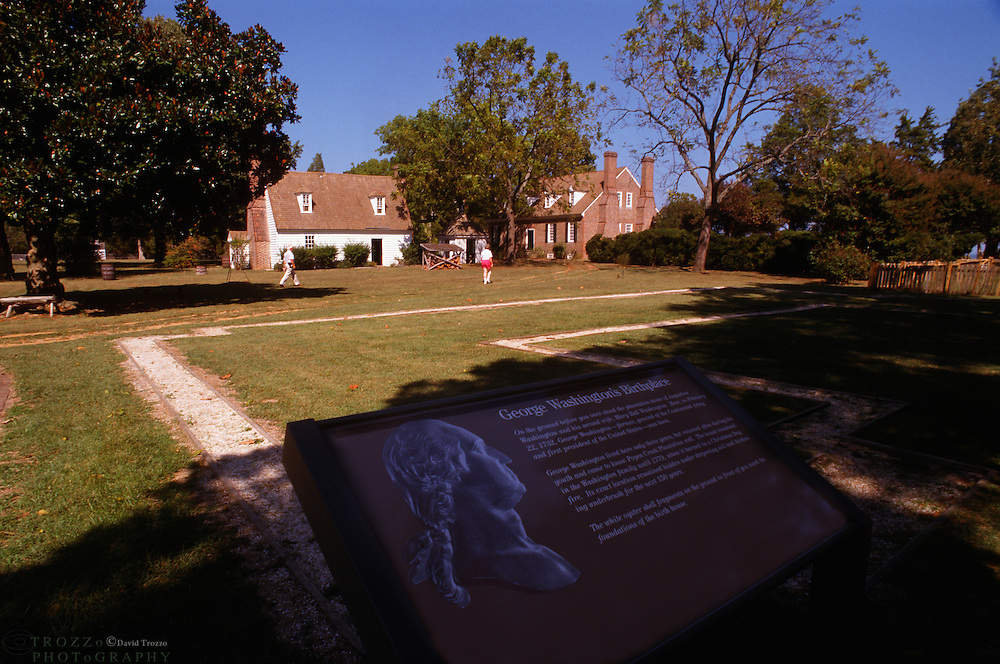Memorial house at The George Washington Birthplace National Monument is in Westmoreland County, Virginia, United States. George Washington was born here on February 22, 1732. He lived here until age four, returning later as a teenager.