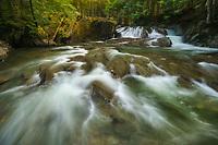 Goregous spring cascade along Lincoln Brook in green mountains, Warren, Vermont, USA