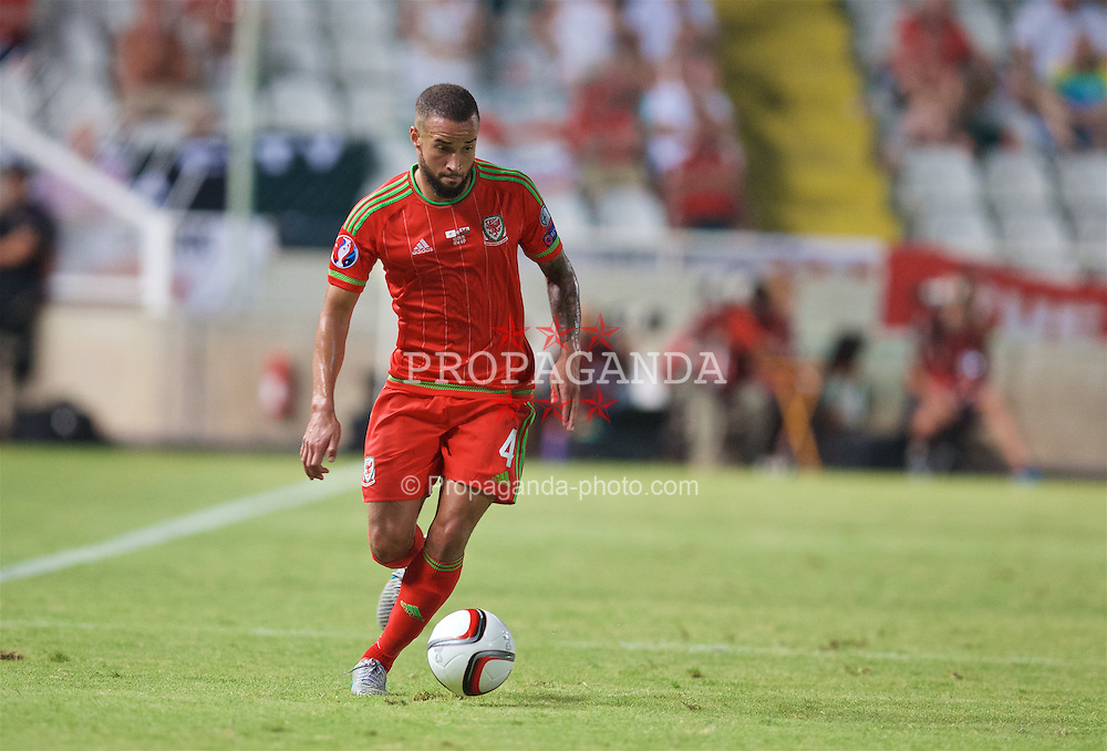 NICOSIA, CYPRUS - Thursday, September 3, 2015: Wales' Ashley 'Jazz' Richards in action against Cyprus during the UEFA Euro 2016 qualifying match at the GPS Stadium. (Pic by David Rawcliffe/Propaganda)