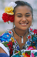 Mexique, Yucatan, Merida, Jeune fille Maya / Mexico, Yucatan state, young Maya girl.