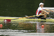 2005 FISA World Cup, Rotsee, Lucerne, SWITZERLAND, 08.07.2005 SUI M1X, Andre Vonarburg, moves away from the start  on the opening day of the final round of the 2005 FISA Rowing World Cup..© Peter Spurrier.  email images@intersport-images..[Mandatory Credit Peter Spurrier/ Intersport Images] Rowing Course, Lake Rottsee, Lucerne, SWITZERLAND.