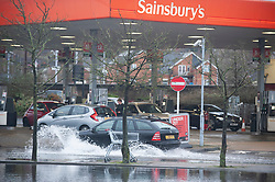 ©Licensed to London News Pictures 22/12/2019. <br /> Tonbridge ,UK.  Heavy rain over night has caused more Christmas flooding in Kent.  Christmas shoppers in Tonbridge, Kent are facing severe disruption in the town centre with two car parks, roads and pathways all flooded and out of action as the River Medway bursts its banks. Photo credit: Grant Falvey/LNP