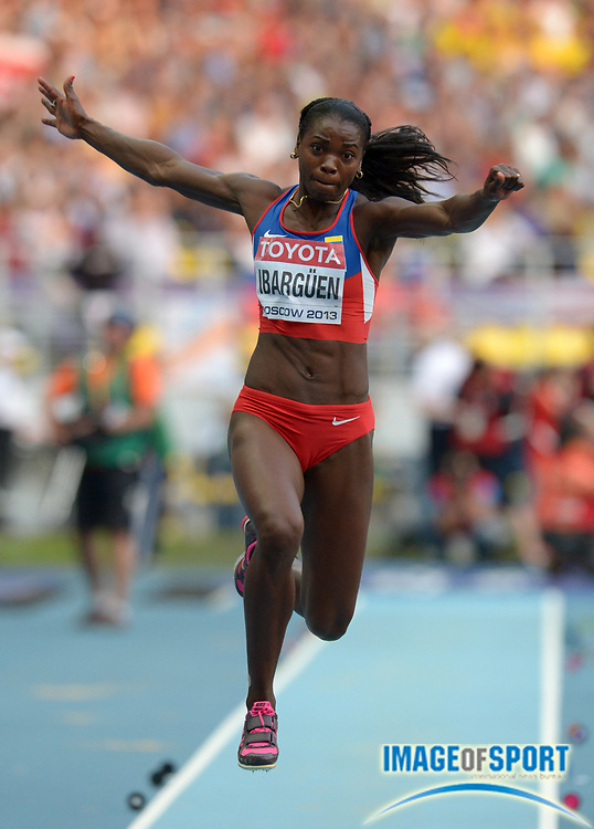 Aug 15, 2013; Moscow, RUSSIA; Catarine Ibarguen (COL) wins the womens triple jump at 48-8 3/4 (14.85m) in the 14th IAAF World Championships in Athletics at Luzhniki Stadium.