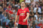 Manchester United 08 XI Gary Neville misses a chance at goal during the Michael Carrick Testimonial Match between Manchester United 2008 XI and Michael Carrick All-Star XI at Old Trafford, Manchester, England on 4 June 2017. Photo by Phil Duncan.