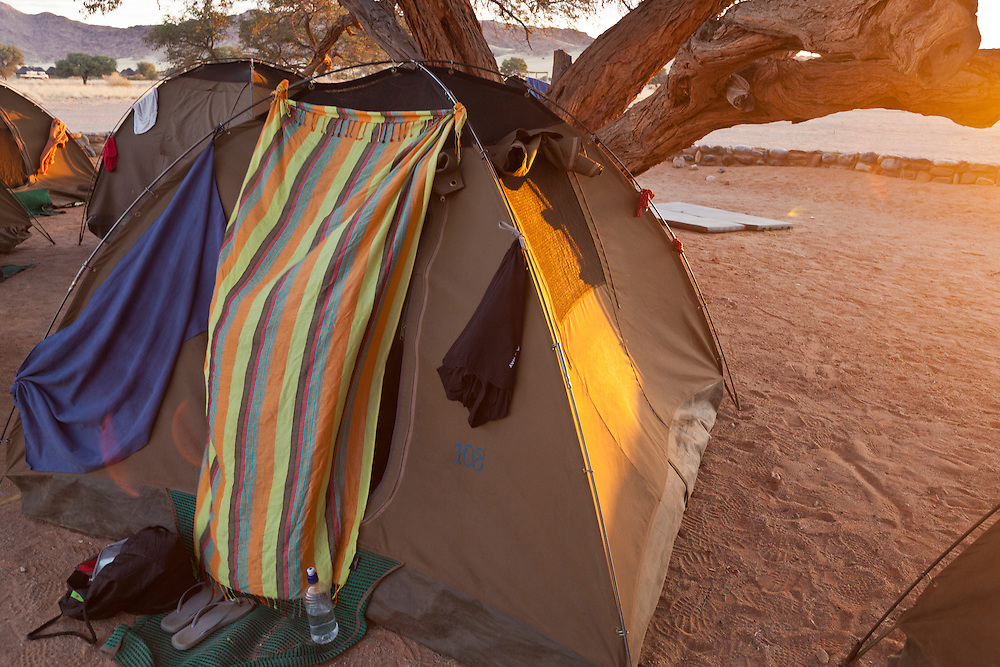 Home away from home. Tent 108 was our home for 13 days in Namibia. Shannon's elaborate decorating but practical  touch is shown here with the African cloth.