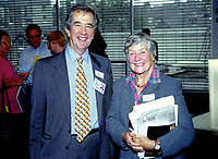 Lord Rodgers of Quarry Bank, aka Bill Rodgers, and Baroness Williams of Crosby, aka Shirley Williams, founder members, Social Democratic Party, the forerunner of the present Liberal Democratic Party. Ref:199909038. Taken at Liberal Democrats Annual Conference - Harrogate, England during September 99<br />