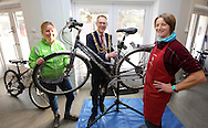 The Mayor of Brighton &amp; Hove, Councillor Pete West visits a cycle maintenance training workshop, part of the 'Brighten up Brighton' campaign. November 26 2016.<br /> <br /> Mayor Pete West with Lucy Dance and Katy Rodda