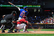May 1 2011; Phoenix, AZ, USA; Chicago Cubs batter Marlon Byrd (24) grounds out to third base during the second inning against the Arizona Diamondbacks at Chase Field. Mandatory Credit: Jennifer Stewart-US PRESSWIRE..