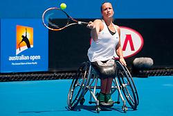 30.01.2016, Melbourne Park, Melbourne, AUS, ATP Tour, Australian Open, im Bild iske Griffioen of the Netherlands returns the ball during her women's wheelchair singles final match against her compatriot Aniek Van Koot. Griffioen won 2-0 // during the Australian Open 2016 at the Melbourne Park in Melbourne, Australia on 2016/01/30. EXPA Pictures &copy; 2016, PhotoCredit: EXPA/ Photoshot/ Bai Xue<br /> <br /> *****ATTENTION - for AUT, SLO, CRO, SRB, BIH, MAZ only*****
