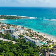 Aerial view of Akumal Bay Beach & Wellness Resort. Akumal, Riviera Maya. Mexico.