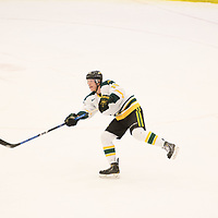 5th year defence man Brody Luhning (18) of the Regina Cougars in action during the Men's Hockey home game on February 3 at Co-operators arena. Credit: Arthur Ward/Arthur Images