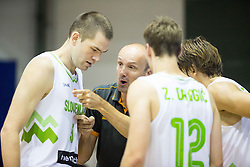 Jure Zdovc, head coach of Slovenia talks to Uros Slokar of Slovenia, Zoran Dragic of Slovenia and Jaka Klobucar of Slovenia during friendly basketball match between National teams of Slovenia and Ukraine at day 3 of Adecco Cup 2014, on July 26, 2014 in Rogaska Slatina, Slovenia. Photo by Vid Ponikvar / Sportida.com