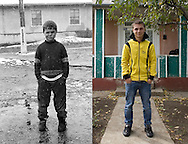 Florin when he was 12 in 1995 at the orphanage. He now lives in a house bought by Michel, a French man, who lets ex-orphans live in his house when they are unemployed. Florin tried to work in England but had a bad experience being exploited washing cars on supermarkets car parks. He came back to Popricani and is now unemployed.
