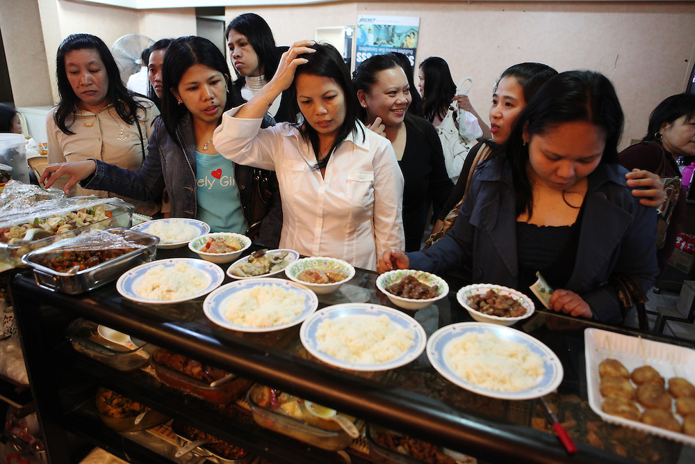 Filipino women decide what's for lunch on Sunday, when many domestic workers have their only day off from work.