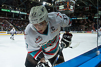 KELOWNA, CANADA - FEBRUARY 27: Rodney Southam #17 of Kelowna Rockets digs for the puck at the boards against the Spokane Chiefs on February 27, 2016 at Prospera Place in Kelowna, British Columbia, Canada.  (Photo by Marissa Baecker/Shoot the Breeze)  *** Local Caption *** Rodney Southam;