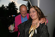 SIR RICHARD RODGERS AND ZAHA HADID, The Summer Party in association with Swarovski. Co-Chairs: Zaha Hadid and Dennis Hopper, Serpentine Gallery. London. 11 July 2007. <br />