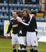 Dundee's Kevin McDonald celbrates scoring during the IRN BRU Scottish League First Division match against Clyde at Dens Park