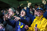 AFC Wimbledon fans celebrating win during the The FA Cup match between AFC Wimbledon and West Ham United at the Cherry Red Records Stadium, Kingston, England on 26 January 2019.