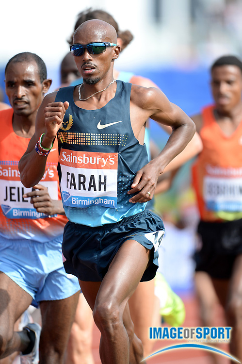 Jun 30, 2013; Birmingham, UNITED KINGDOM; Mo Farah (GBR) wins the 5,000m in 13:14.24 in the 2013 Sainsbury's Grand Prix at Alexander Stadium. Photo by Jiro Mochizuki