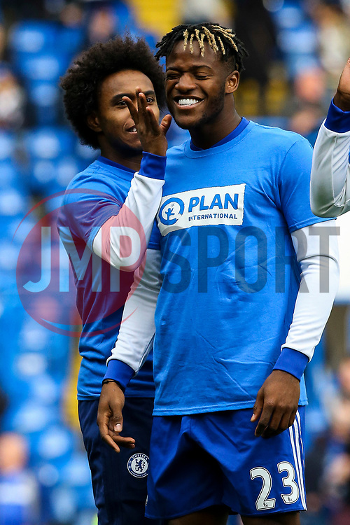 Willian of Chelsea jokes with Michy Batshuayi of Chelsea during the warm ups - Mandatory by-line: Jason Brown/JMP - 01/04/2017 - FOOTBALL - Stamford Bridge - London, England - Chelsea v Crystal Palace - Premier League