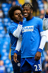 Willian of Chelsea jokes with Michy Batshuayi of Chelsea during the warm ups - Mandatory by-line: Jason Brown/JMP - 01/04/2017 - FOOTBALL - Stamford Bridge - London, England - Chelsea v Crystal Palace - Premier League