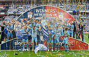Coventry City celebrate after winning the League 2 Play-Off final during the EFL Sky Bet League 2 play-off final match between Coventry City and Exeter City at Wembley Stadium, London, England on 28 May 2018. Picture by Jon Hobley.