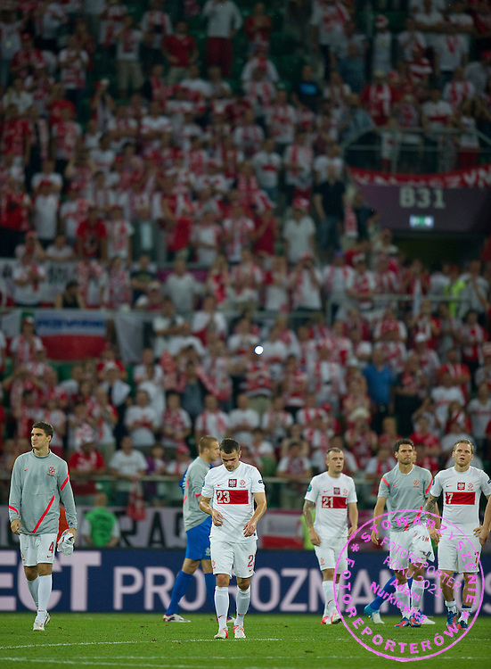 (L-R) Marcin Kaminski (nr04) & Pawel Brozek (nr23) & Kamil Grosicki (nr21) & Rafal Wolski (nr19) & Eugen Polanski (nr07) all from Poland after the UEFA EURO 2012 Group A football match between Poland and Czech Republic at Municipal Stadium in Wroclaw on June 16, 2012...Poland, Wroclaw, June 16, 2012..Picture also available in RAW (NEF) or TIFF format on special request...For editorial use only. Any commercial or promotional use requires permission...Photo by © Adam Nurkiewicz / Mediasport