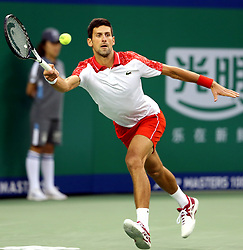 SHANGHAI, Oct. 13, 2018  Novak Djokovic of Serbia returns the ball during the singles semifinal match against Alexander Zverev of Germany at 2018 ATP Shanghai Masters tennis tournament in Shanghai, east China, Oct. 13, 2018. Djokovic won 2-0. (Credit Image: © Fan Jun/Xinhua via ZUMA Wire)