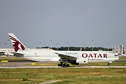 Qatar Airways Cargo Boeing 777-FDZ (A7-BFD) ready for takeoff at Milan - Malpensa (MXP / LIMC) Italy