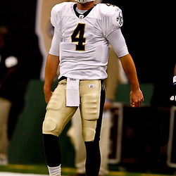 August 21, 2010; New Orleans, LA, USA; New Orleans Saints quarterback Sean Canfield (4) during warm ups prior to kickoff of a preseason game against the Houston Texans at the Louisiana Superdome. Mandatory Credit: Derick E. Hingle