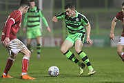 Forest Green Rovers Lewis Spurrier(37) on the ball during the Gloucestershire Senior Cup match between Forest Green Rovers and U23 Bristol City at the New Lawn, Forest Green, United Kingdom on 9 April 2018. Picture by Shane Healey.