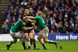 09.02.2013 Edinburgh, Scotland.  Scotland''s Sean Maitland breaks the Ireland defence during the RBS Six Nations Championship match between Scotland and Ireland, from Murrayfield Stadium.