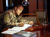 Off Duty Army Jaden Studies at Home