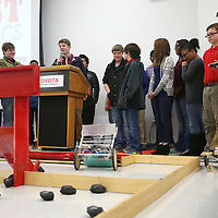 Lauren Wood | Buy at photos.djournal.com<br /> Members of the Tupelo Middle School team maneuver their robot through the quadrant Thursday during the BEST robotics lunch at Toyota Motor Manufacturing Mississippi.