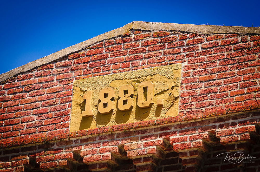 Red brick building circa 1880, Jacksonville, Oregon USA