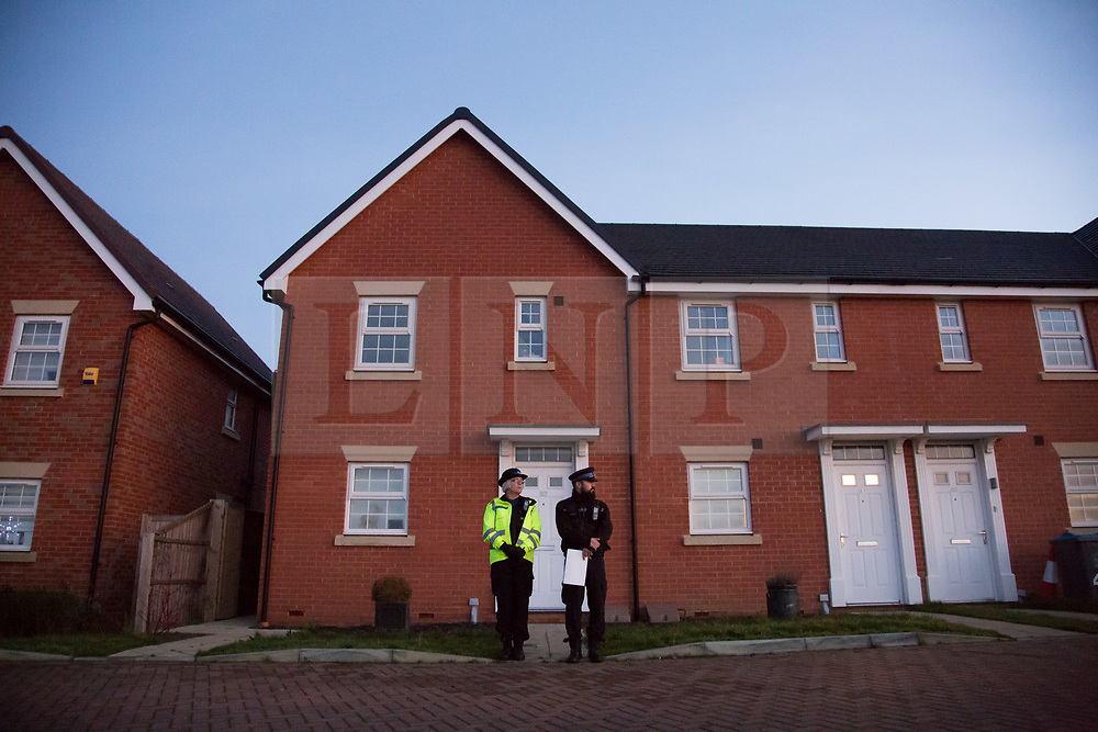 @Licensed to London News Pictures 27/12/2018. Margate, Kent. Kent Police officers stand outside the home of a 37-year old woman in Castle Drive today where two young children were removed  and taken to hospital where they were later declared dead. The woman is currently in police custody.  Photo credit: Manu Palomeque/LNP