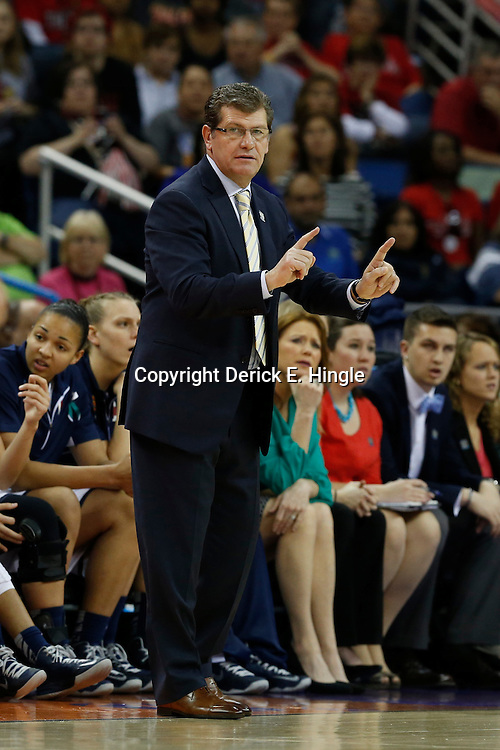 Apr 9, 2013; New Orleans, LA, USA; Connecticut Huskies head coach Geno Auriemma instructs against the Louisville Cardinals during the first half of the championship game in the 2013 NCAA womens Final Four at the New Orleans Arena. Mandatory Credit: Derick E. Hingle-USA TODAY Sports