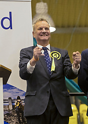 The count for the UK Parliamentary General Election 2017 for the Perth &amp; North Perthshire Constituency takes place at Bell's Sports Centre in Perth.<br /> <br /> The four candidates standing for the seat are Peter Barrett (Scottish Liberal Democrats), Ian Duncan (Scottish Conservatives), David Roemmele (Scottish Labour) and Pete Wishart (SNP)<br /> <br /> Pictured: After two re-counts the result of Perth and North Perthshire is announced with Pete Wishart retaining the seat with 21,804 votes. Ian Duncan (Conservative) trailed by 21 votes with 21,783. David Roemmele (Labour) third with 5,349 and Peter Barrett (Liberal Democrats) fourth with 2,589