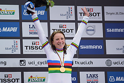 The new World Champion, Annemiek van Vleuten at UCI Road World Championships Elite Women's Individual Time Trial 2017 a 21.1 km time trial in Bergen, Norway on September 19, 2017. (Photo by Sean Robinson/Velofocus)