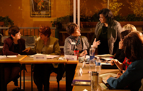 (from left) Ginny Riechman of Mary Kay; Cheryl Faulkner; Debra Ghysels of Debra's Designs and Gail Johnson of Cognitians, LLC during the Women in Business Networking 'Hot Topics' Koffee Talk at the Dorothy Lane Market in Springboro, Friday, March 4, 2011.