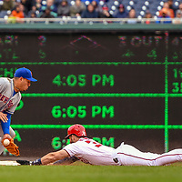 WASHINGTON, DC - APRIL 07:  Washington Nationals right fielder Bryce Harper (34) steals second base ahead of throw to New York Mets second baseman Asdrubal Cabrera (13) during the game between the New York Mets and the Washington Nationals on April 7, 2018, at Nationals Park, in Washington D.C.   The New York Mets defeated the Washington Nationals, 3-2.  (Photo by Mark Goldman/Icon Sportswire)