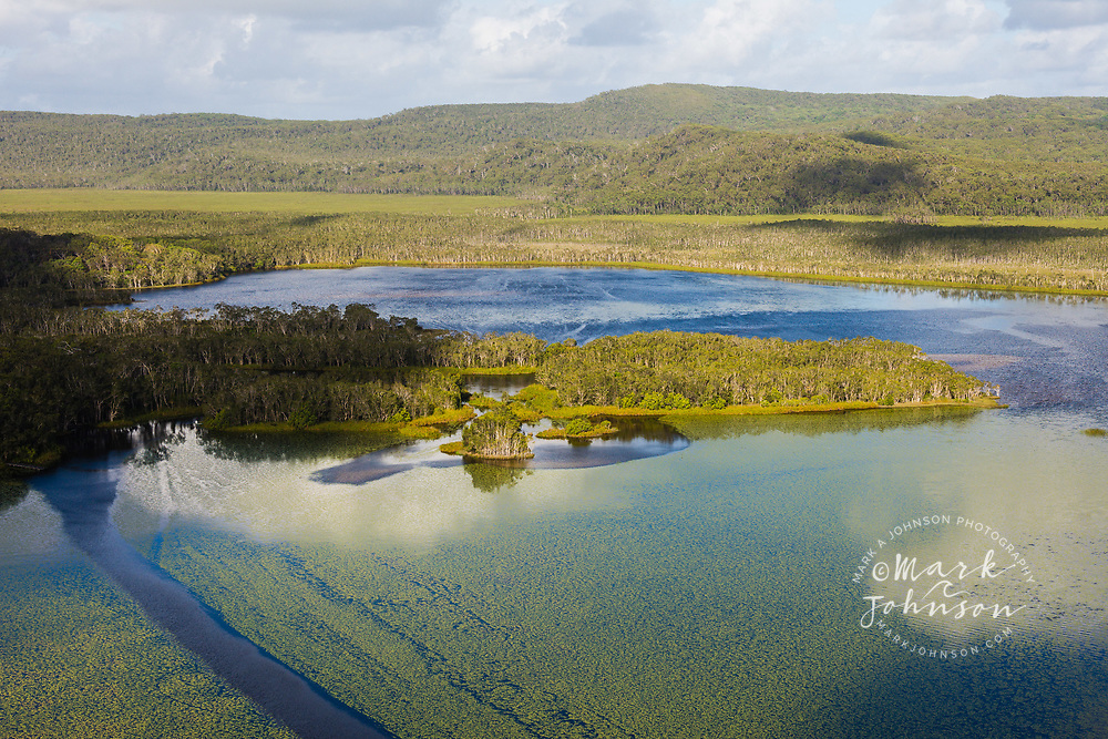 Aerial photo of wetlands in Fig Tree Lake, Noosa River, Great Sandy National Park, Sunshine Coast, Queensland, Australia