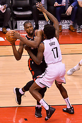 February 11, 2019 - Toronto, Ontario, Canada - Serge Ibaka #9 of the Toronto Raptors hold the ball during the Toronto Raptors vs Brooklyn Nets NBA regular season game at Scotiabank Arena on February 11, 2019, in Toronto, Canada (Toronto Raptors win 127-125) (Credit Image: © Anatoliy Cherkasov/NurPhoto via ZUMA Press)