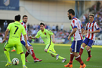 Atletico de Madrid´s Gabi and FC Barcelona´s Lionel Messi during 2014-15 La Liga match between Atletico de Madrid and FC Barcelona at Vicente Calderon stadium in Madrid, Spain. May 17, 2015. (ALTERPHOTOS/Luis Fernandez)