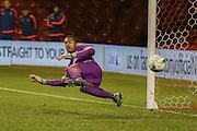 Brighton U18 goalkeeper Robert Lynch Sanchez  watches winning penalty fly past him during the FA Youth Cup match between U18 Nottingham Forest and U18 Brighton at the City Ground, Nottingham, England on 10 December 2015. Photo by Simon Davies.